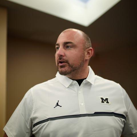 Michigan assistant coach Chris Partridge on Aug....
