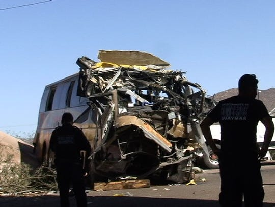 A view of the wreckage from an early-morning bus crash