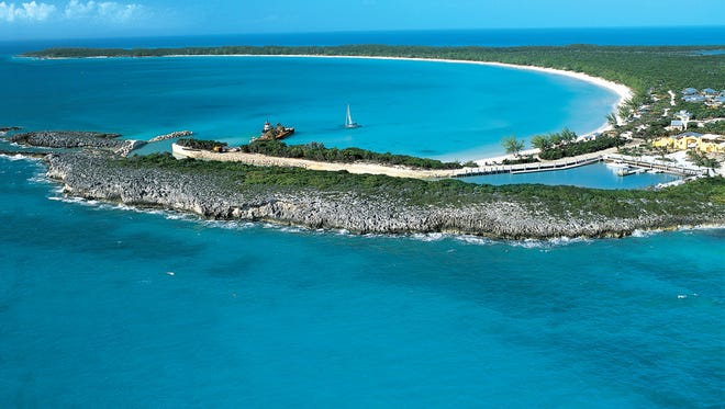An aerial view of Half Moon Cay, Holland America's private island in the Bahamas.