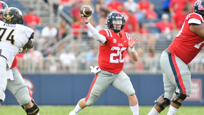 Ole Miss Rebels quarterback Shea Patterson (20) makes a pass against the Vanderbilt Commodores during the second quarter at Vaught-Hemingway Stadium.