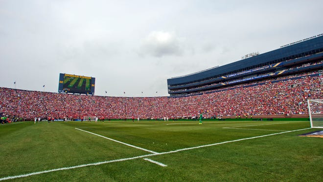 Fans attend a match between Real Madrid and Manchester United at Michigan Stadium on Aug. 2, 2014, in Ann Arbor.
