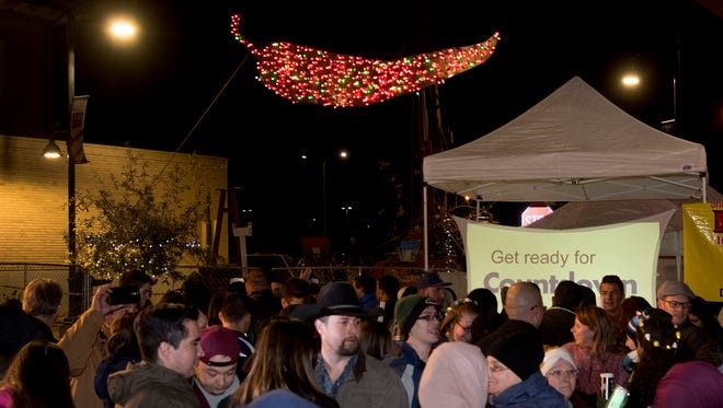 The Chile hit the bottom near Plaza de Las Cruces Sunday nigh to ring in 2018 in New Mexico. 12/31/17Gary Mook/ for the Sun-News