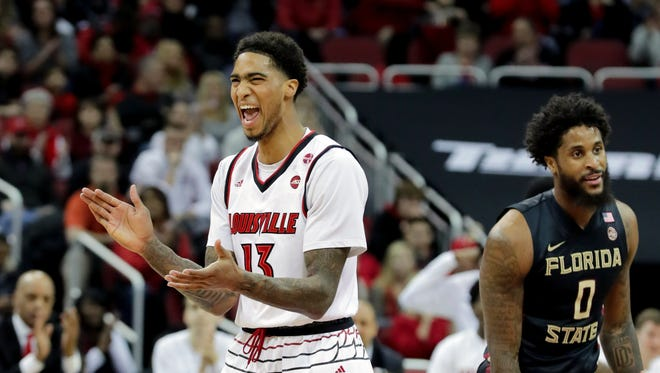Louisville's Ray Spalding celebrates after scoring against FSU.