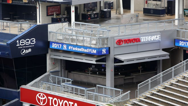 The Toyota Terrace, a new social space overlooking the Yankees bullpen, at Yankee Stadium in the Bronx April 4, 2017. The New York Yankees unveiled stadium enhancements that include new social gathering spaces and a variety of ballpark food items as well as a kids clubhouse.