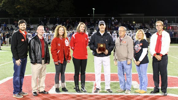 The presentation of the 2017 Susquehannock Alumni Association Spirit Award  was recently presented to Chuck Abbott. Pictured from left are: Trevor Carrington, Mark Rill, Anne Bozievich, Sarah Brown, Chuck Abbott, Glenn Geiple, Sue Barnhart and Jeff Joy.