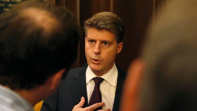 Hal Steinbrenner, owner of the New York Yankees, talks with reporters during the baseball owners meetings at the Drake Hotel Wednesday, Nov. 16, 2016, in Chicago.