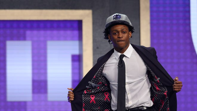 Jun 22, 2017; Brooklyn, NY, USA; De'Aaron Fox (Kentucky) shows off the inside of his suit after being introduced as the number five overall pick to the Sacramento Kings in the first round of the 2017 NBA Draft at Barclays Center.