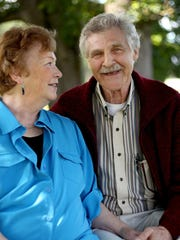 Dennis Thompson, 73, a prostrate cancer survivor, and his wife, Gerrie Smith-Thompson, 76, at Bush's Pasture Park in Salem on Tuesday, May 26, 2015.