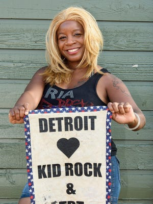 Super-fan Ria Richard shows off her spirit at Kid Rock's show No. 8 at DTE Energy Music Theatre on Wednesday. She'll be in the audience tonight at show No. 10, the last of the run.