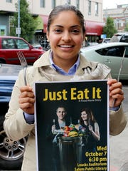 Griselda Puga visited to promote a free film and to solicit calendar art submissions during the Statesman Journal's Holding Court at the Court Street Dairy Lunch in Salem on Tuesday, Sept. 15, 2015.