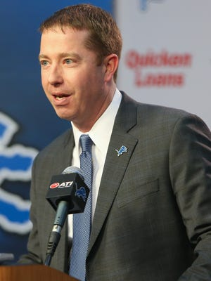 Detroit Lions executive vice president and general manager Bob Quinn talks to reporters Jan. 11, 2016, at the Allen Park practice facility.