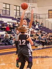 Battle Creek Central's England Bennett takes her shot against Lakeview during Friday evening's game.