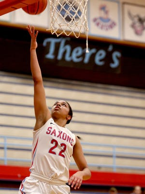 South Salem's Evina Westbrook (22) makes a basket in the West Salem vs. South Salem girl's basketball game at South Salem High School on Tuesday, Jan. 26, 2016. South Salem won the game 62-45.