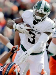 Running back LJ Scott has been one of the few bright spots for Michigan State over the past two months. He's continued to improve as the Spartans dropped eight of their past nine games.