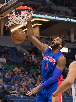 Pistons center Andre Drummond (0) dunks the ball in the first half Friday in Minneapolis.
