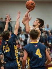 Shippensburg's Cody Gustafson (10) takes a shot while