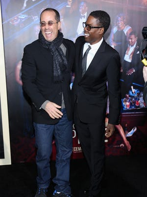 Superstar comedians and friends Jerry Seinfeld (left) and Chris Rock will perform in Milwaukee within three days of each other. Seinfeld is at the Riverside Theater for two shows Friday. Rock plays the Milwaukee Theatre Monday.