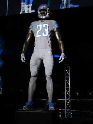The Detroit Lions unveiled their new uniforms at Ford Field in Detroit on Thursday, April 13, 2017.