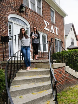 MSU Sigma Delta Tau sorority sisters, Lauren Wallenfels, right, VP of recruitment, and President Ilana Schwartz at their main sorority house on M.A.C. in East Lansing.  The sorority also rents the three houses directly to the north.