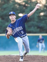 Redwood's Vincent Pratti pitches against Mt Whitney