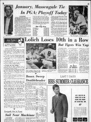 """The front of sports with """"Lolich loses 10th in a Row"""". From the Detroit Free Press, July 24, 1967 and the riots in Detroit."""
