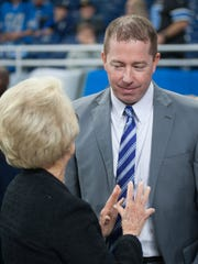 Sep 10, 2017; Detroit, MI, USA; Lions general manager Bob Quinn chats with owner Martha Ford before the opener against the Cardinals at Ford Field.
