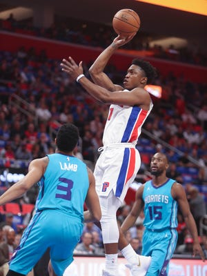 Stanley Johnson started for the Pistons on Wednesday night in the first-ever regular season Pistons game at Little Caesars Arena.