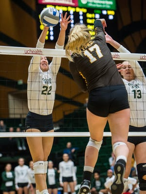 CSU's Katie Oleksak, left, and Kirstie Hillyer, shown in this file photo, played big roles in the Rams sweeping Fresno State on Saturday at Moby Arena to take over first place in the Mountain West.