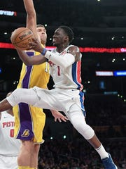 Reggie Jackson shoots against the Lakers in the first half of the Pistons' 113-93 loss Tuesday, Oct. 31, 2017 in Los Angeles.