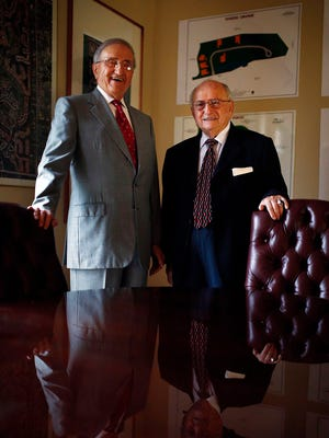 Joe Procacci, left, and brother Michael Procacci Sr. stand in one of their offices Friday, March 27, 2015, in Naples, Fla. The tomato barons and real estate developers died within a week of each other this month.