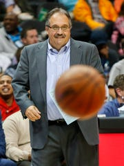 Dec 14, 2017; Atlanta, GA, USA; Detroit Pistons head coach Stan Van Gundy during a game against the Atlanta Hawks in the second quarter at Philips Arena.