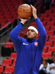 Pistons forward Tobias Harris (34) warms up before