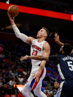 Blake Griffin went 11-for-13 at the free-throw line in his Pistons debut on Thursday at Little Caesars Arena.