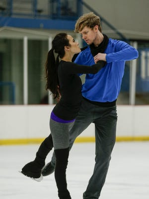 Ice dancers Madison Chock and Evan Bates practice at the Novi Ice Arena in Novi on Jan. 31.