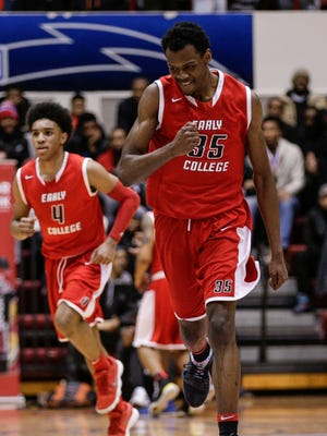 Edison forward Deantae Johnson (35) celebrates after making a dunk against Pershing during the first half of the Detroit Public School League championship game at University of Detroit Mercy in Detroit, Friday, February 16, 2018.