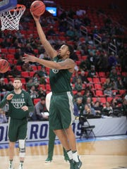 Michigan State forward Nick Ward practices for the first-round NCAA tournament game on Thursday, March 15, 2018, at Little Caesars Arena.