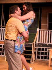 "David Ballantyne, as Chris, and Holly Beaman, as Ann, rehearse for ""All My Sons"" at Pentacle Theatre. The play will run April 17-May 9."