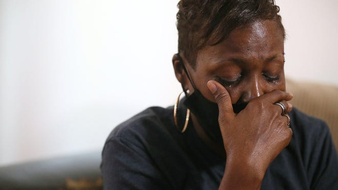 Wonderous Halsell pauses as she talks Thursday  about her 20-month-old grandson Tyree Halsell at her Akron home. The child was killed in a shooting on Fifth Avenue in Akron on Sunday.