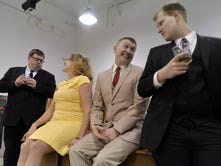 "Talent agency boss Felix (Matthew Tuomi), left, scowls disapprovingly as he talks with Hollywood actress Carol (Aimee Minnerath), and  agent George (Aaron Trompeter), talks with movie agent Alec (Patrick Hoffman) during a practice Jan. 14 in Cold Spring for the Great Northern Theatre Company production of ""The Whole Ninth Floor."""