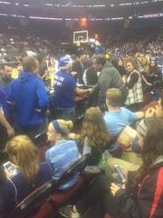 New Jersey Governor Chris Christie watches Seton Hall take on Delaware Saturday evening at the Prudential Center