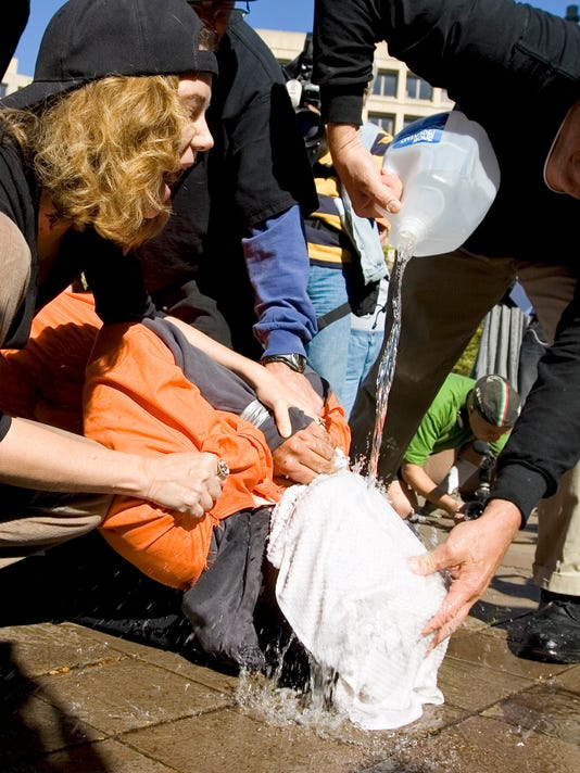 AP WATERBOARDING PROTEST A USA DC