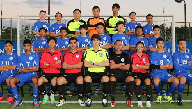 The Guam under-14 boys' national football team currently is in China, P.R. to compete in this year's AFC U14 Boys Festival of Football at the National Training Center in Xianghe. All 10 member nations from the East Asia region are entered in the festival, with matches scheduled up until Sept. 13. Pictured from the training squad are, from left: (front row) Joshua Calvo, Alan Thomas, coach Sung Wook Choi, head coach Dominic Gadia, Guam Football Association assistant technical director Sang Hoon Kim, coach Joseph Laanan, team manager Kimberly Sherman, Ryan Kent and Samuel Quan; (middle row) Micah Hennegan, Robert Niu, Anthony Moon, Noah Bamba, Shane Larkin, Sho Meyar, and Kainoa Ferguson; (back row) Benjamin Sweeney, Mark Iseke, Dorian Teria, Kaito Atsuta, James Lee, Matthew Iseke, and Shaun-Paul Martinez. Not in the photo is Noah Jaye.