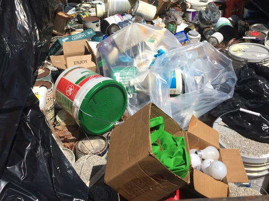 Household hazardous waste such as paint, florescent light bulbs, polishes, varnishes and that were kept out of the landfill at last year's recycling event.