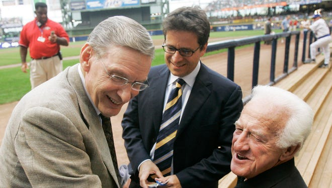 Former MLB commissioner and Brewers owner Bud Selig (left) shares a moment with current Brewers owner Mark Attanasio (center) and Bob Uecker before a game at Miller Park.