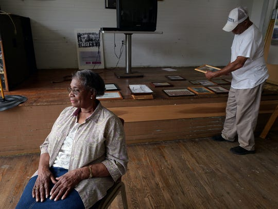 Irene Hurt sits in Free Hill's Rosenwald School, which