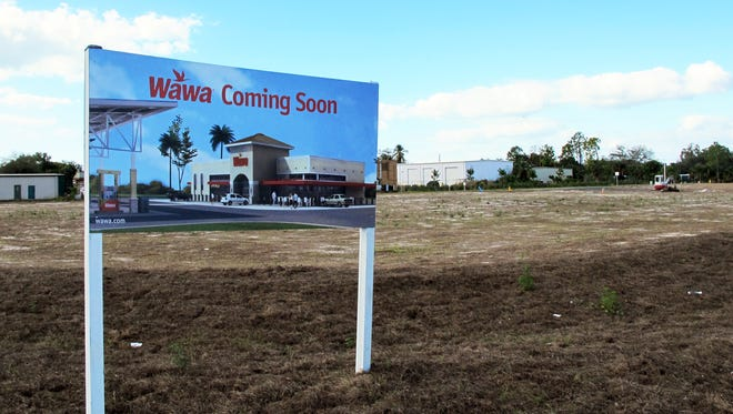 Collier County's first Wawa store and gas station will be built in 2017 on this corner at Livingston and Radio roads in East Naples.