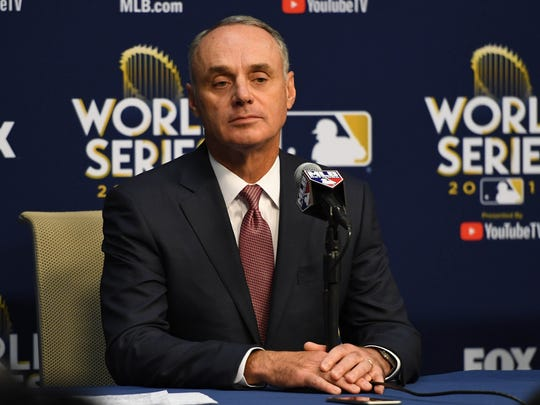 MLB commissioner Rob Manfred speaks at a press conference regarding Astros first baseman Yuli Gurriel (not pictured) on Saturday.