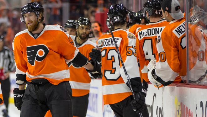 Jake Voracek, left, leads the Flyers in scoring with two goals and five assists.