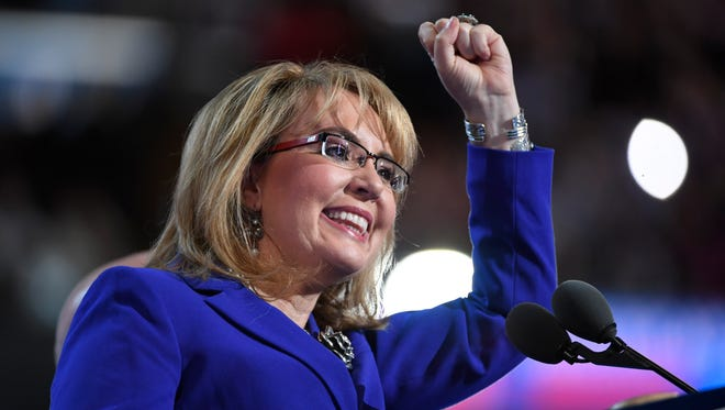 Former congresswoman Gabrielle Giffords speaks during the Democratic National Convention in Philadelphia on July 27, 2016.