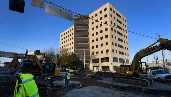 Construction continues on Regal Entertainment Group's corporate headquarters at the South Waterfront on the former Baptist Hospital site Nov. 29, 2017.